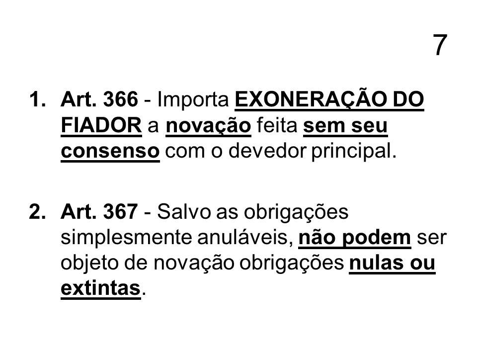 7 Art. 366 - Importa EXONERAÇÃO DO FIADOR a novação feita sem seu consenso com o devedor principal.