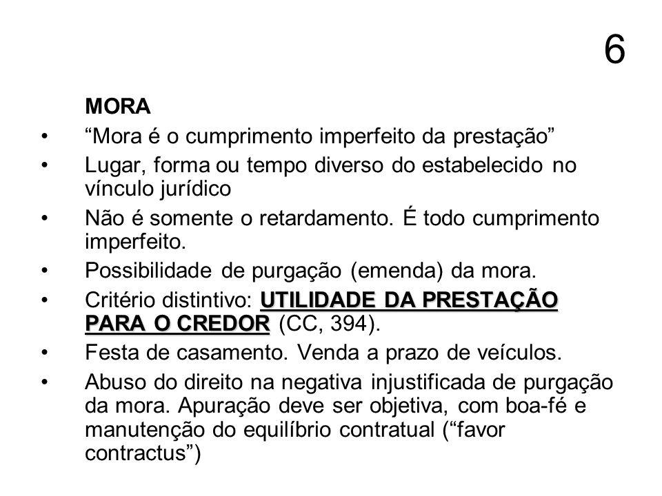 6 MORA Mora é o cumprimento imperfeito da prestação