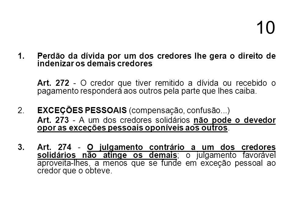 10 Perdão da dívida por um dos credores lhe gera o direito de indenizar os demais credores.