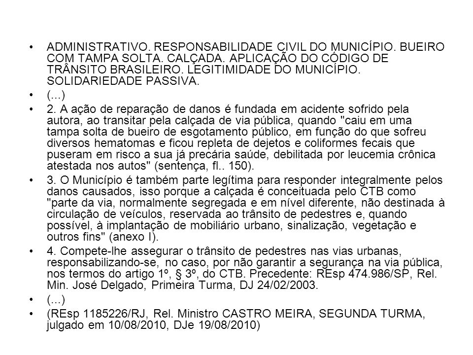 ADMINISTRATIVO. RESPONSABILIDADE CIVIL DO MUNICÍPIO
