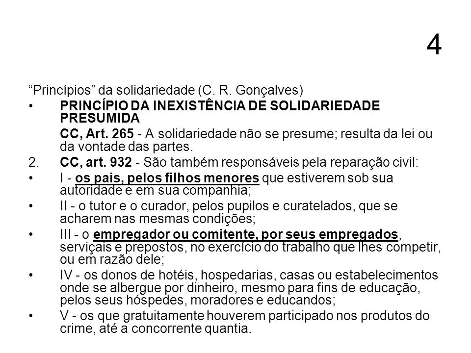 4 Princípios da solidariedade (C. R. Gonçalves)
