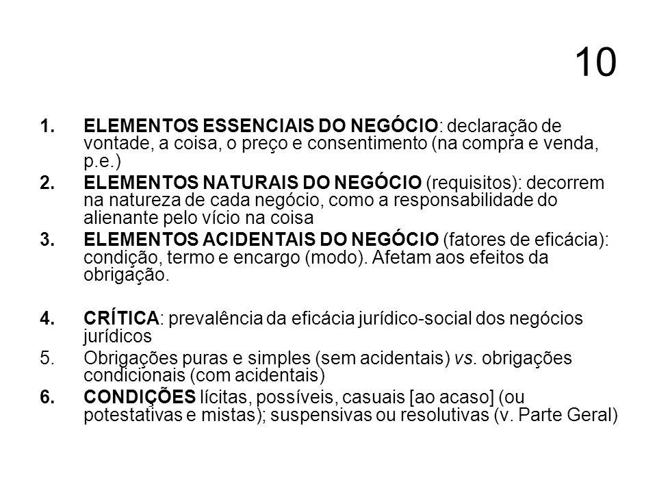 10 ELEMENTOS ESSENCIAIS DO NEGÓCIO: declaração de vontade, a coisa, o preço e consentimento (na compra e venda, p.e.)