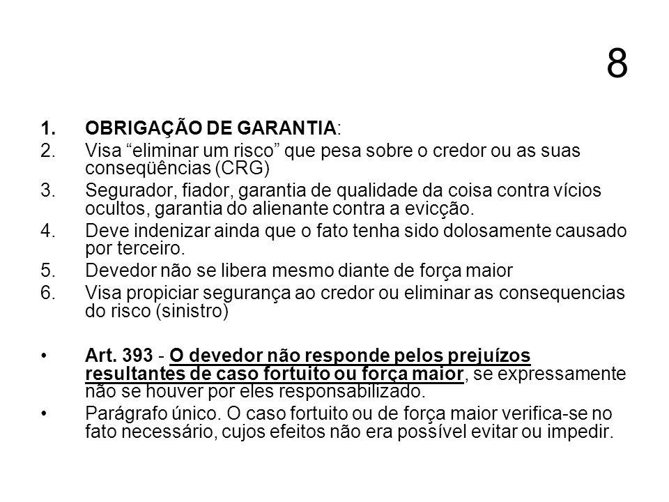 8 OBRIGAÇÃO DE GARANTIA: