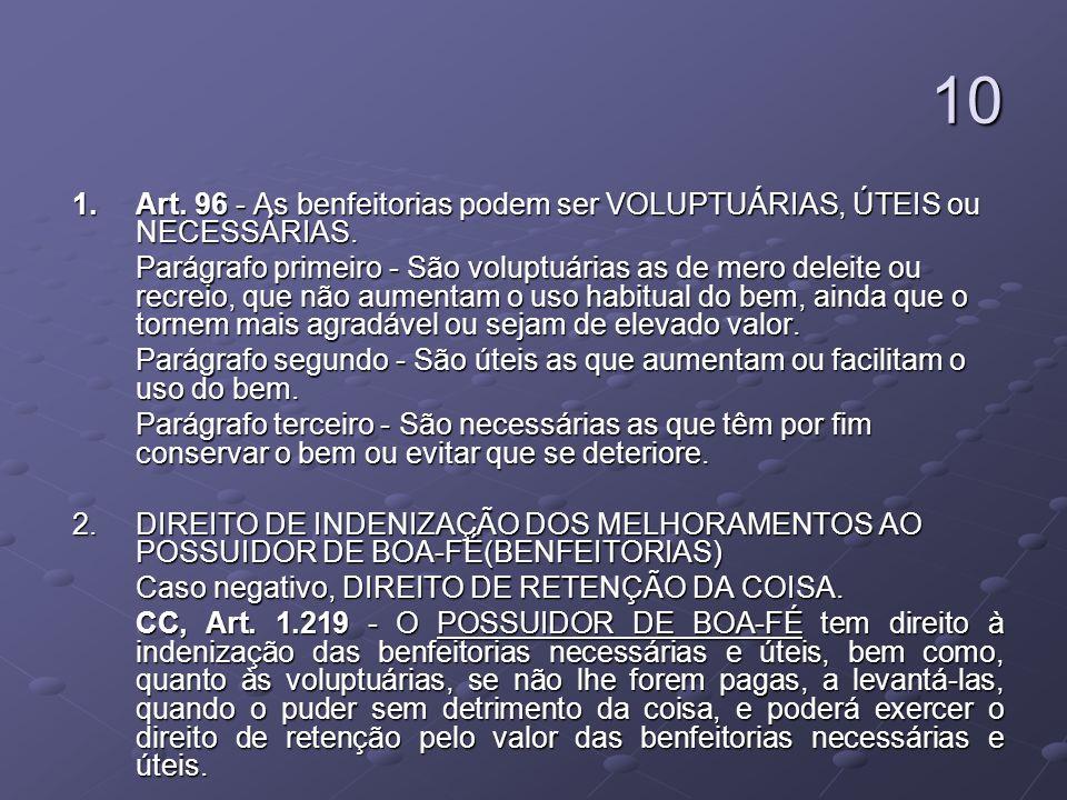 10 1. Art. 96 - As benfeitorias podem ser VOLUPTUÁRIAS, ÚTEIS ou NECESSÁRIAS.