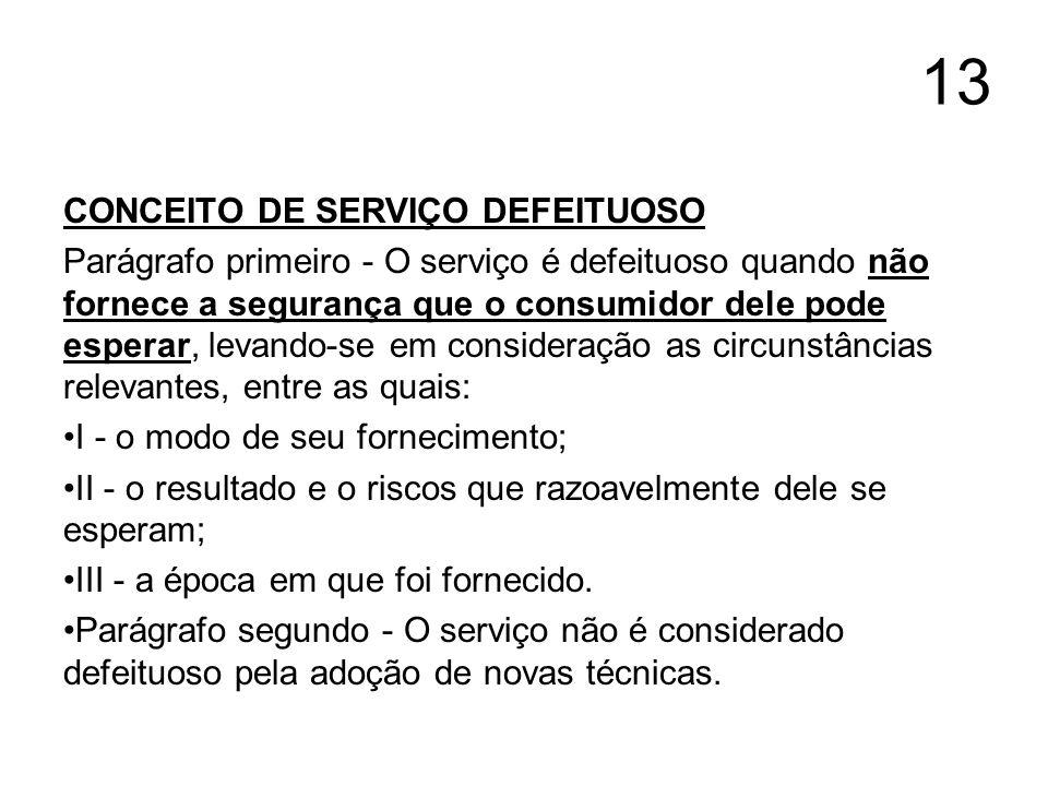 13 CONCEITO DE SERVIÇO DEFEITUOSO