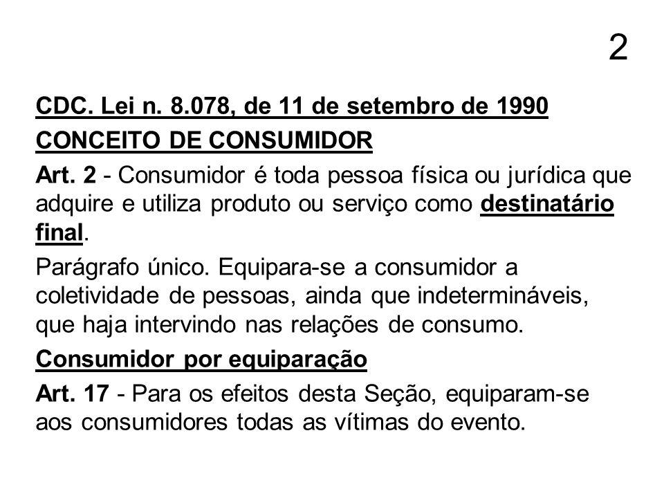 2 CDC. Lei n. 8.078, de 11 de setembro de 1990 CONCEITO DE CONSUMIDOR