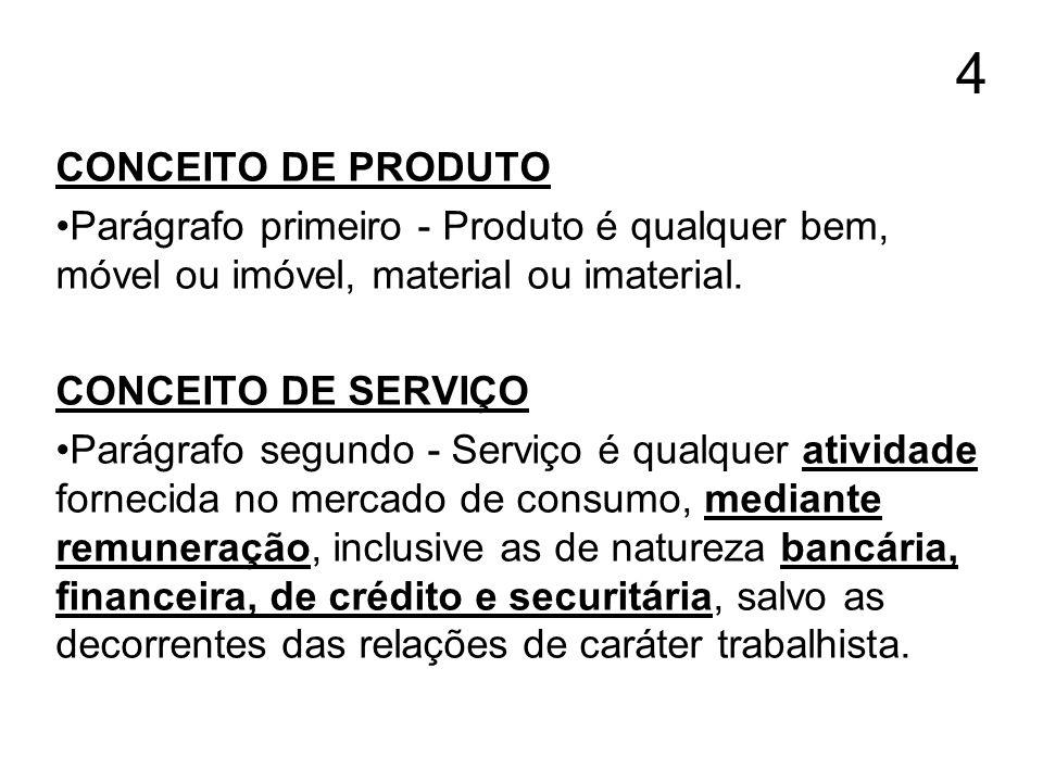 4 CONCEITO DE PRODUTO. Parágrafo primeiro - Produto é qualquer bem, móvel ou imóvel, material ou imaterial.