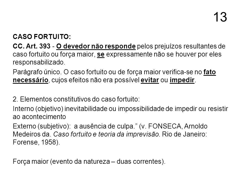 13 CASO FORTUITO: