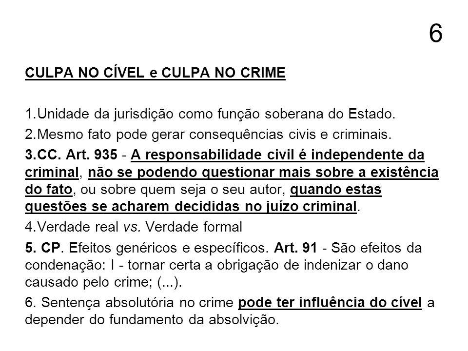 6 CULPA NO CÍVEL e CULPA NO CRIME
