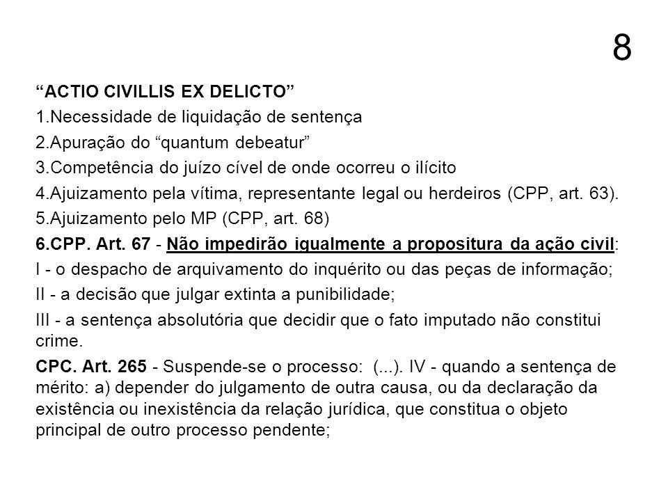 8 ACTIO CIVILLIS EX DELICTO Necessidade de liquidação de sentença