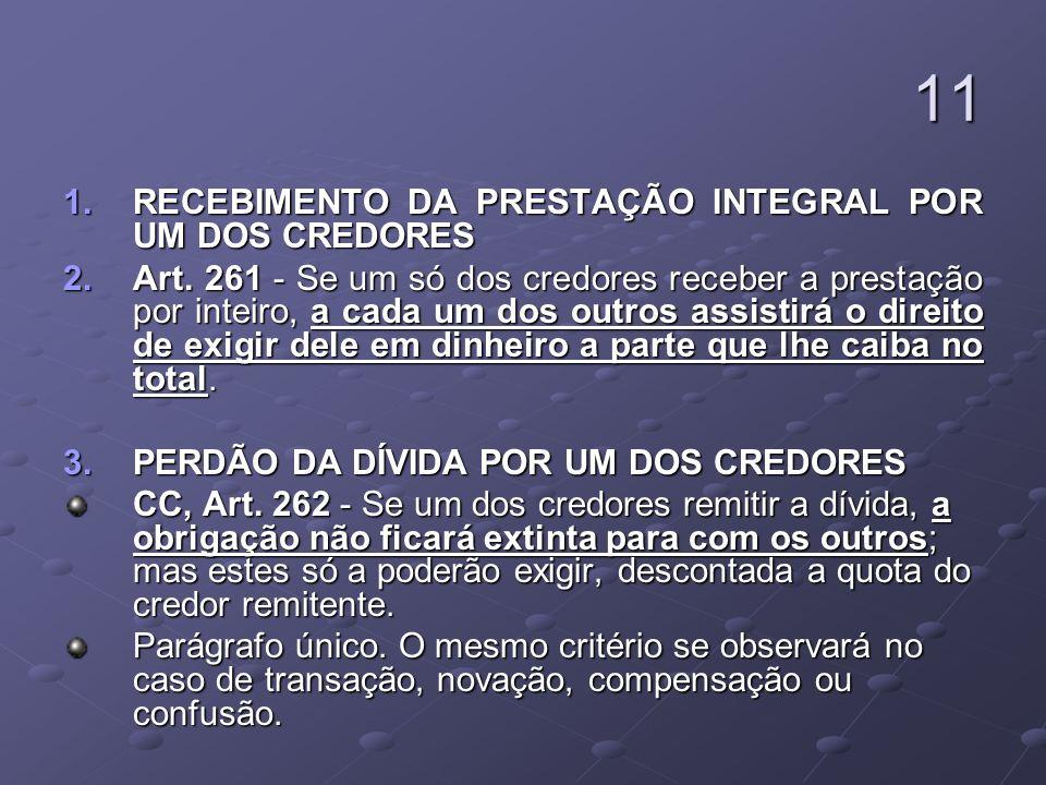 11 RECEBIMENTO DA PRESTAÇÃO INTEGRAL POR UM DOS CREDORES