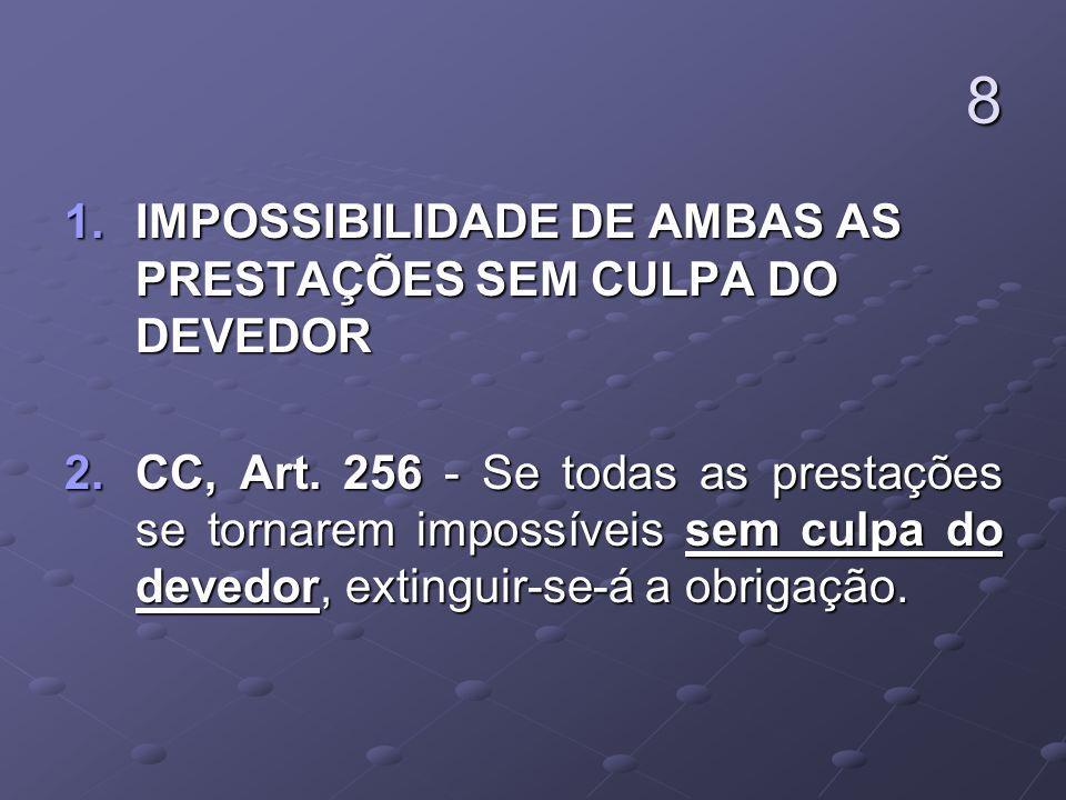 8 IMPOSSIBILIDADE DE AMBAS AS PRESTAÇÕES SEM CULPA DO DEVEDOR