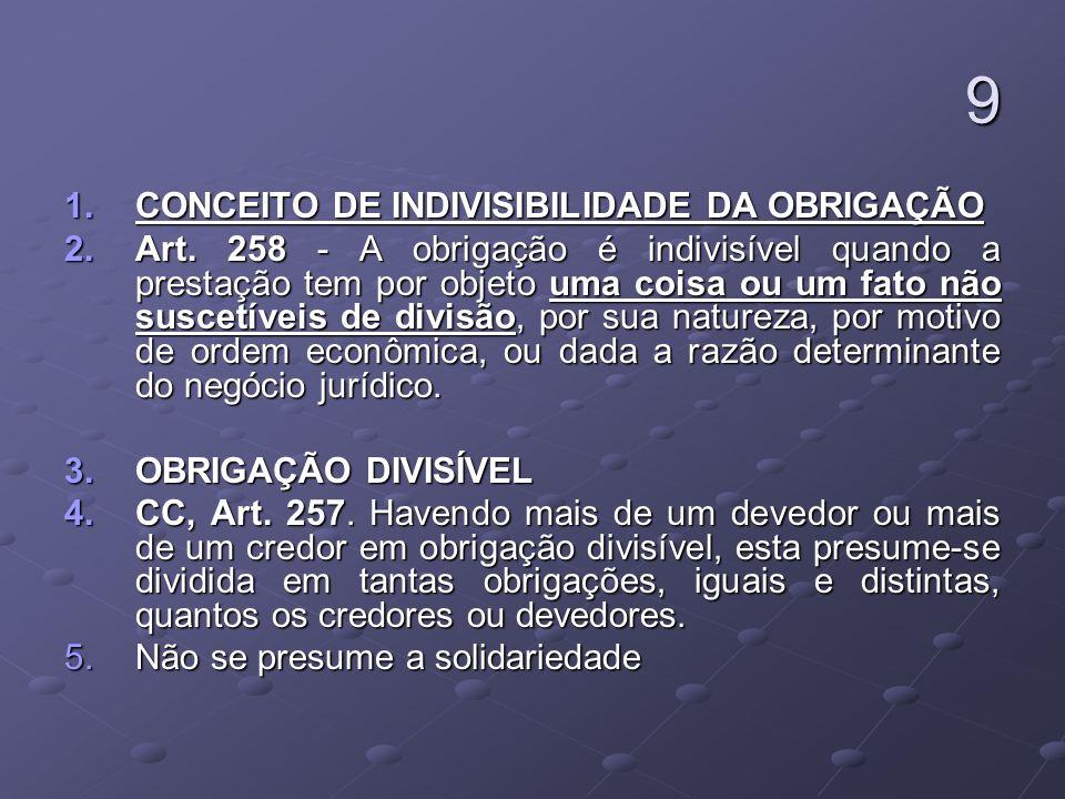 9 CONCEITO DE INDIVISIBILIDADE DA OBRIGAÇÃO
