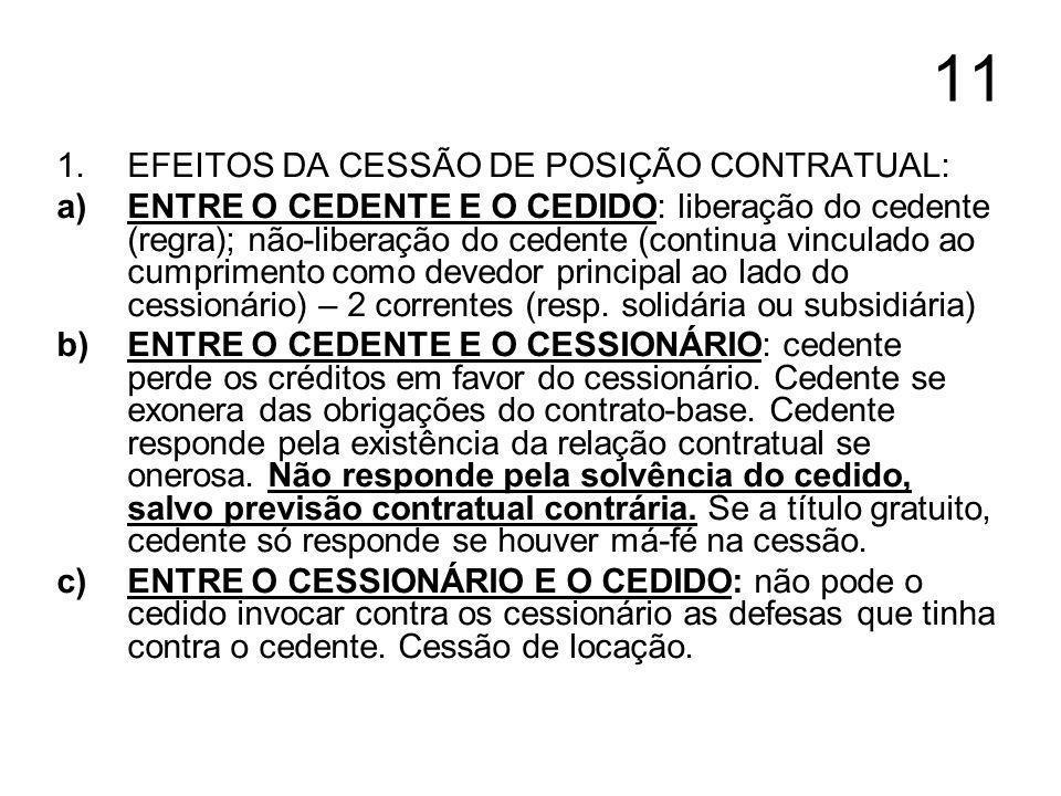 11 EFEITOS DA CESSÃO DE POSIÇÃO CONTRATUAL: