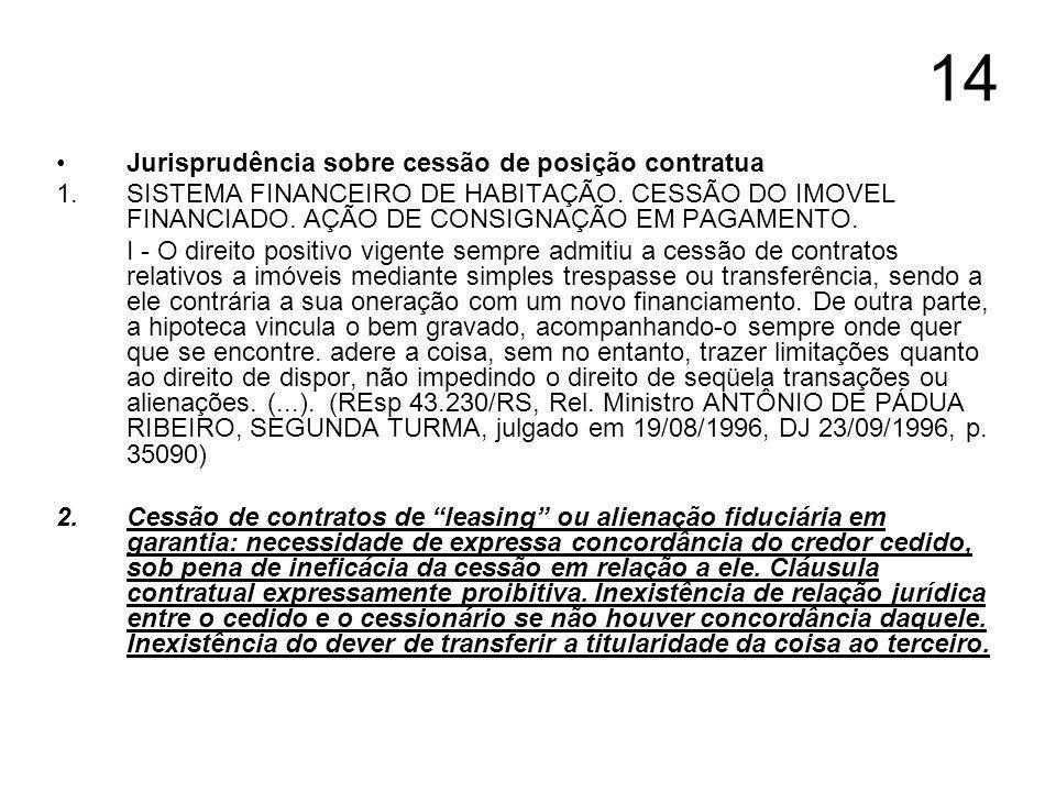 14 Jurisprudência sobre cessão de posição contratua