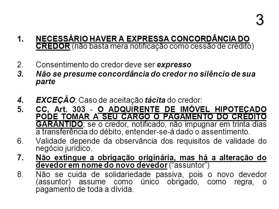 3 NECESSÁRIO HAVER A EXPRESSA CONCORDÂNCIA DO CREDOR (não basta mera notificação como cessão de crédito)