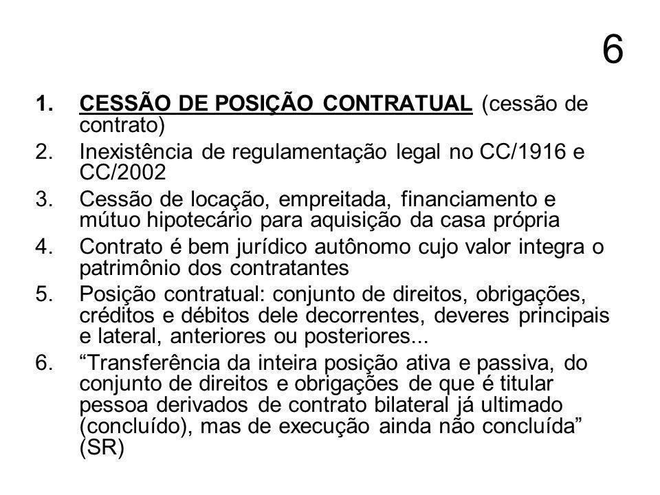 6 CESSÃO DE POSIÇÃO CONTRATUAL (cessão de contrato)