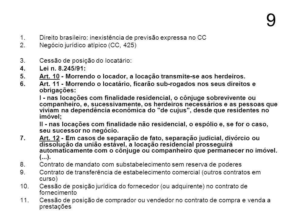 9 Direito brasileiro: inexistência de previsão expressa no CC