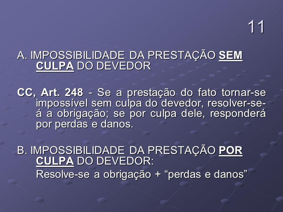 11 A. IMPOSSIBILIDADE DA PRESTAÇÃO SEM CULPA DO DEVEDOR