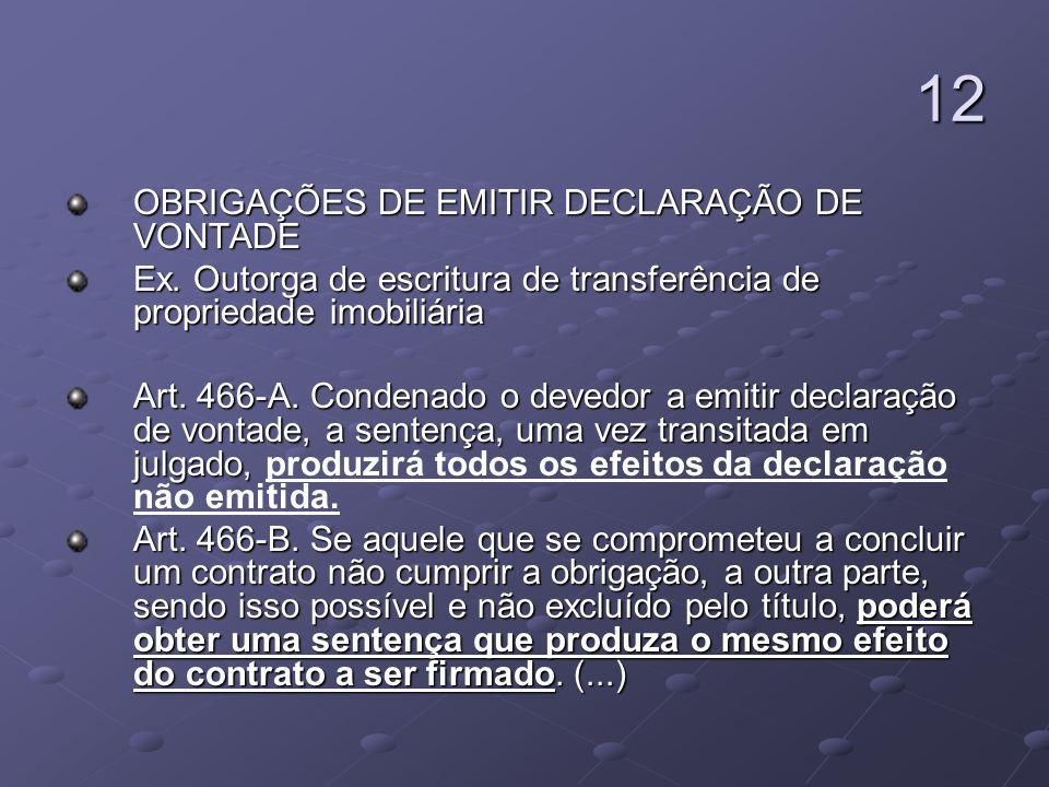 12 OBRIGAÇÕES DE EMITIR DECLARAÇÃO DE VONTADE