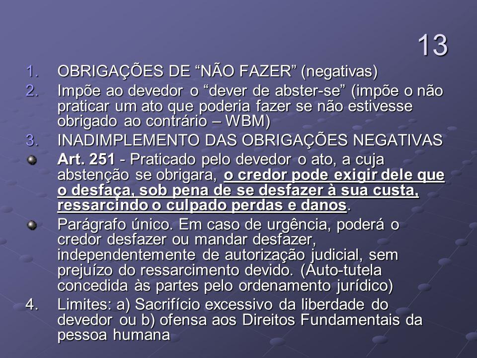 13 OBRIGAÇÕES DE NÃO FAZER (negativas)