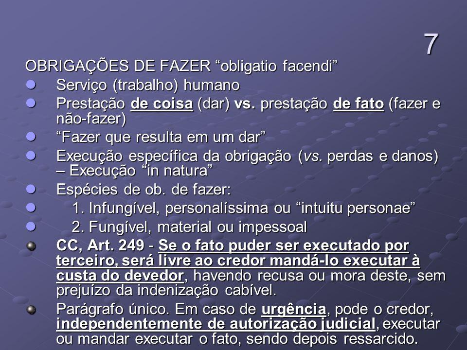 7 OBRIGAÇÕES DE FAZER obligatio facendi Serviço (trabalho) humano