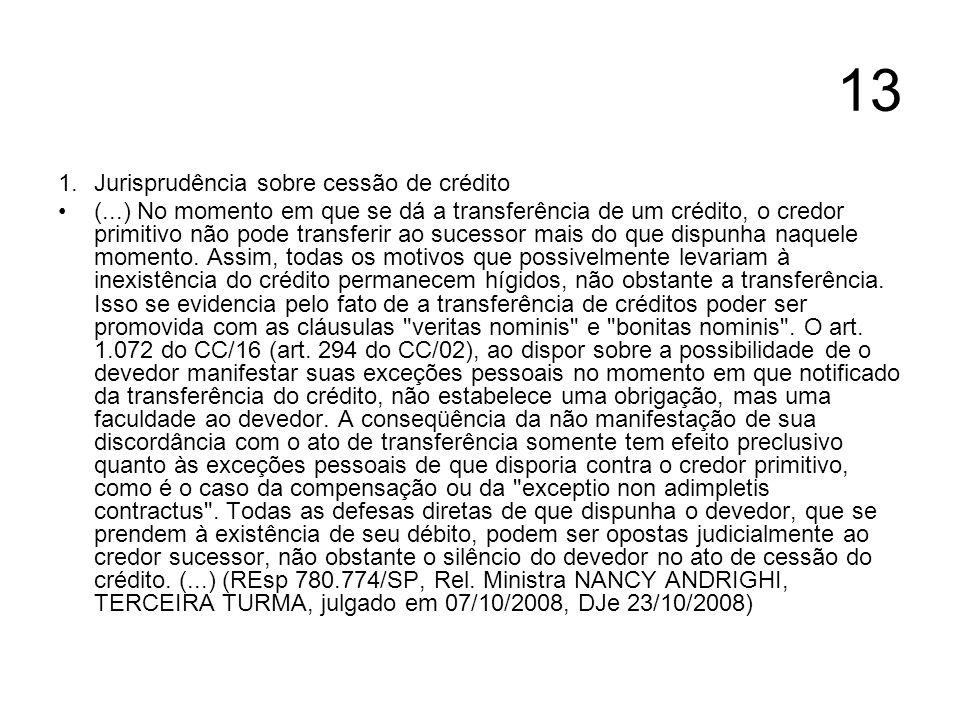 13 Jurisprudência sobre cessão de crédito
