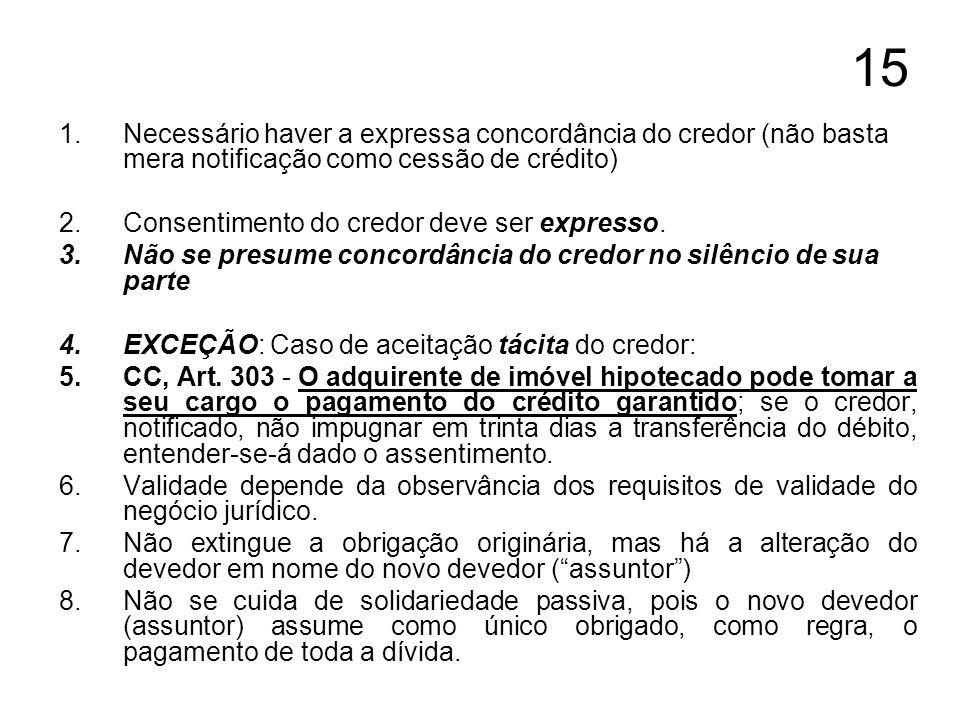 15 Necessário haver a expressa concordância do credor (não basta mera notificação como cessão de crédito)