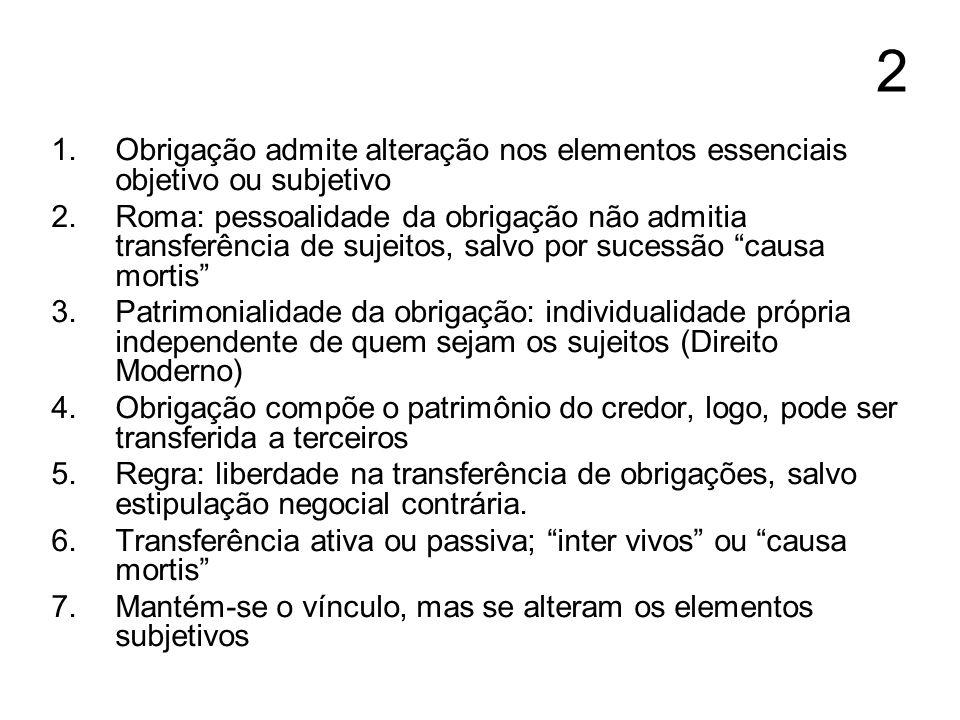 2 Obrigação admite alteração nos elementos essenciais objetivo ou subjetivo.