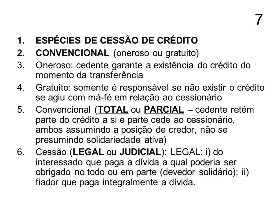 7 ESPÉCIES DE CESSÃO DE CRÉDITO CONVENCIONAL (oneroso ou gratuito)