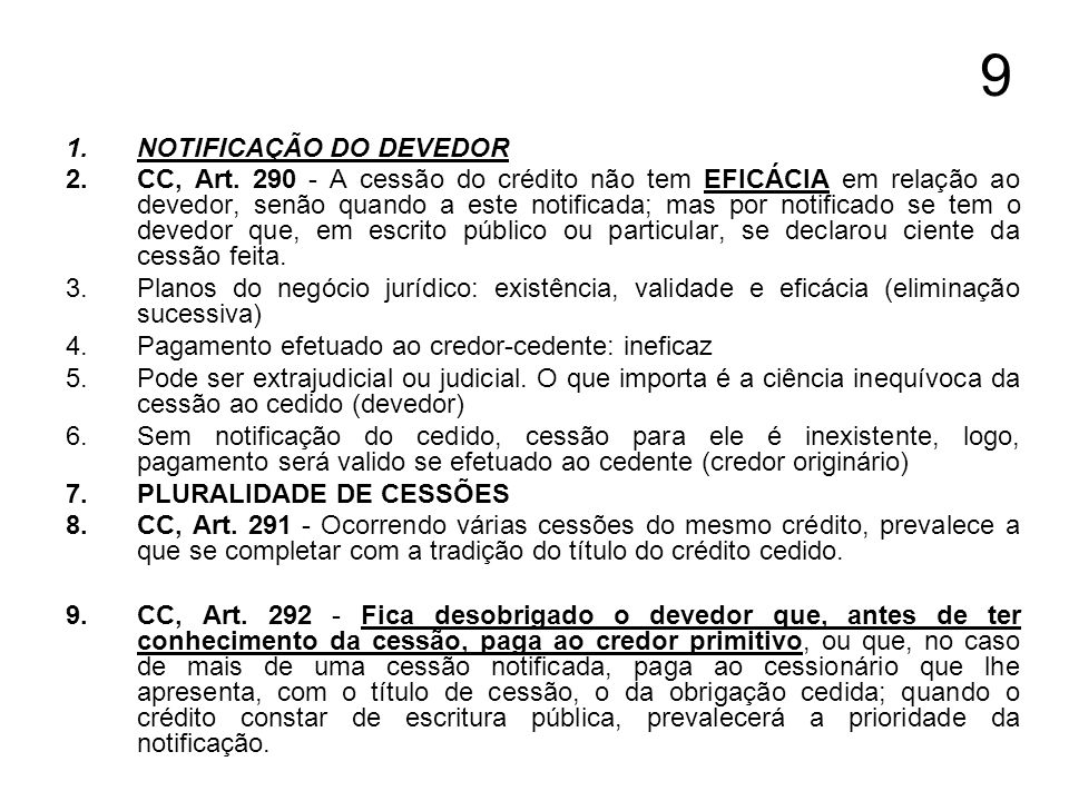 9 NOTIFICAÇÃO DO DEVEDOR
