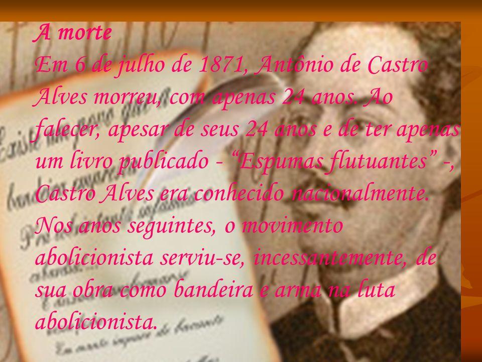 A morte Em 6 de julho de 1871, Antônio de Castro Alves morreu, com apenas 24 anos. Ao falecer, apesar de seus 24 anos e de ter apenas um livro publicado - Espumas flutuantes -, Castro Alves era conhecido nacionalmente. Nos anos seguintes, o movimento abolicionista serviu-se, incessantemente, de sua obra como bandeira e arma na luta abolicionista.