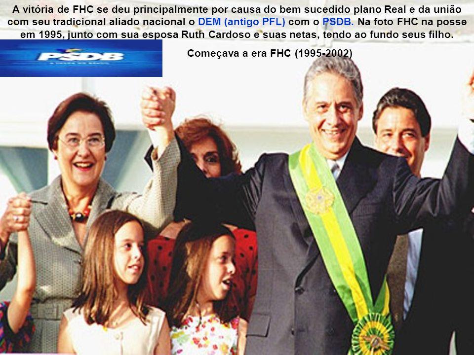 A vitória de FHC se deu principalmente por causa do bem sucedido plano Real e da união com seu tradicional aliado nacional o DEM (antigo PFL) com o PSDB. Na foto FHC na posse em 1995, junto com sua esposa Ruth Cardoso e suas netas, tendo ao fundo seus filho.