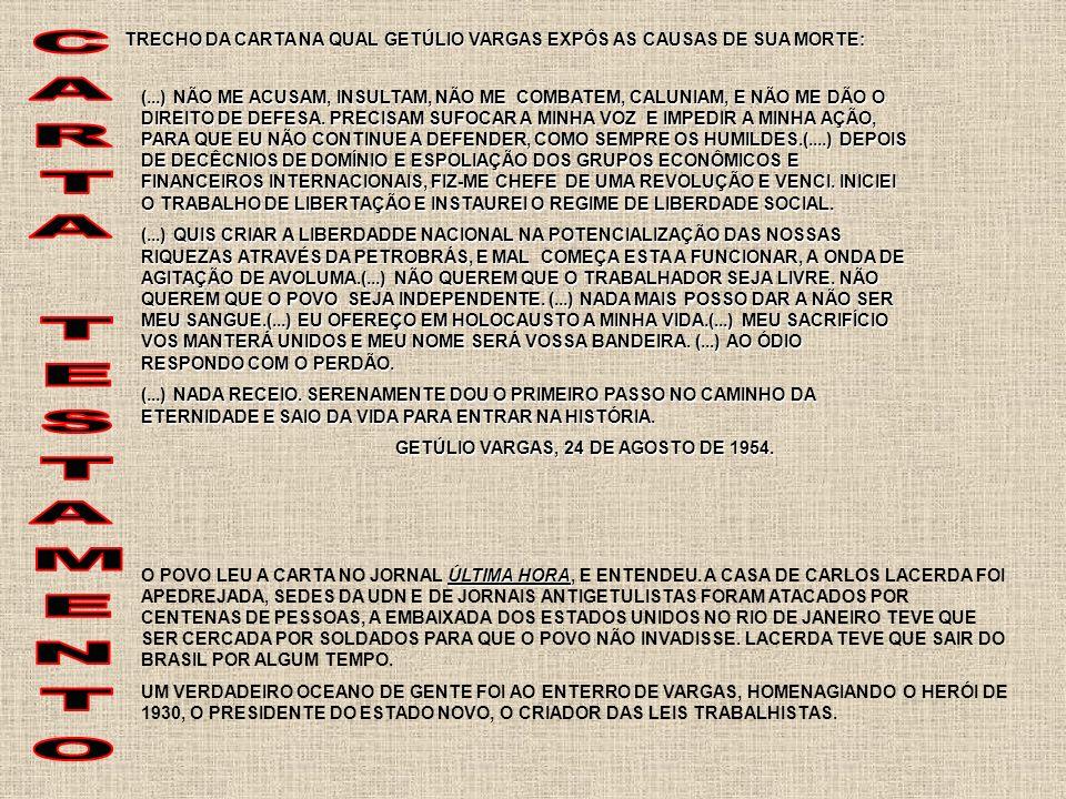 TRECHO DA CARTA NA QUAL GETÚLIO VARGAS EXPÔS AS CAUSAS DE SUA MORTE:
