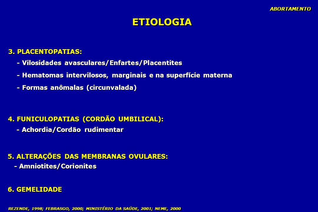 ETIOLOGIA 3. PLACENTOPATIAS: