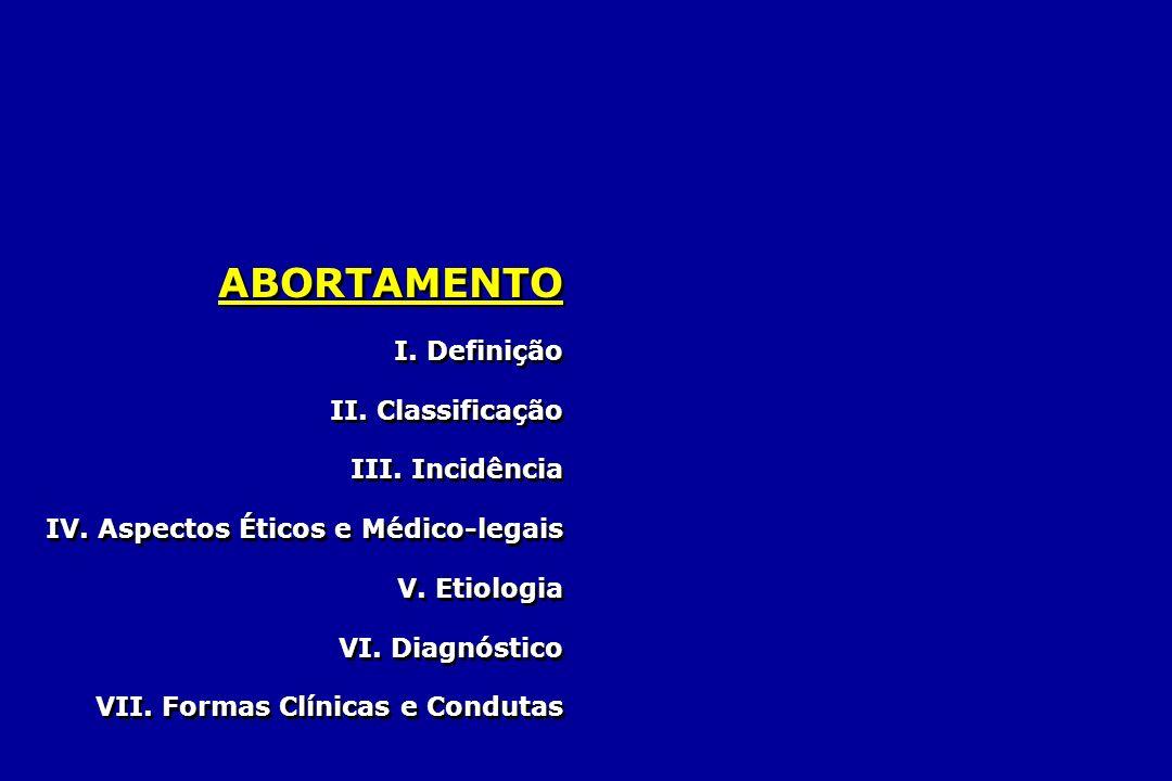 ABORTAMENTO I. Definição II. Classificação III. Incidência