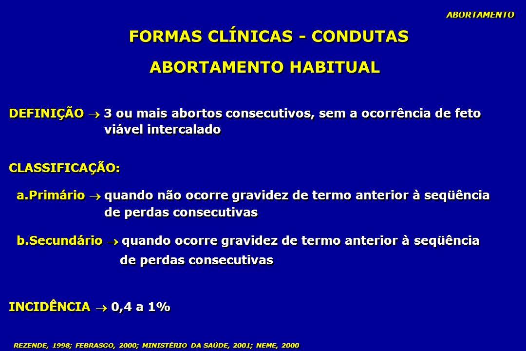 FORMAS CLÍNICAS - CONDUTAS