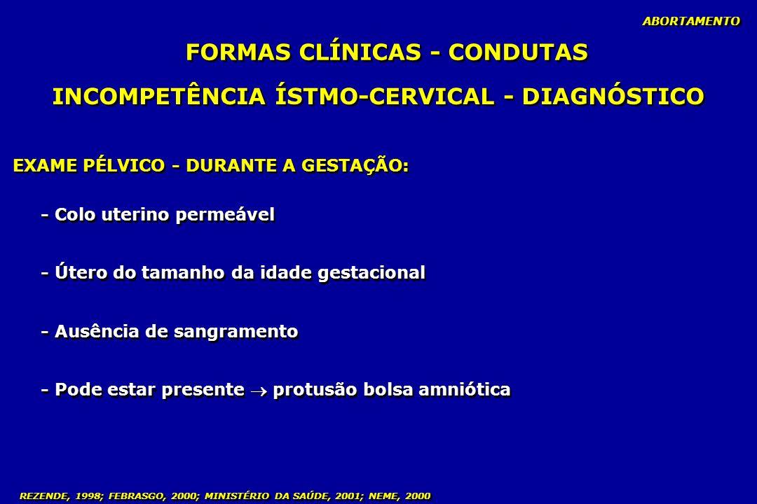FORMAS CLÍNICAS - CONDUTAS INCOMPETÊNCIA ÍSTMO-CERVICAL - DIAGNÓSTICO