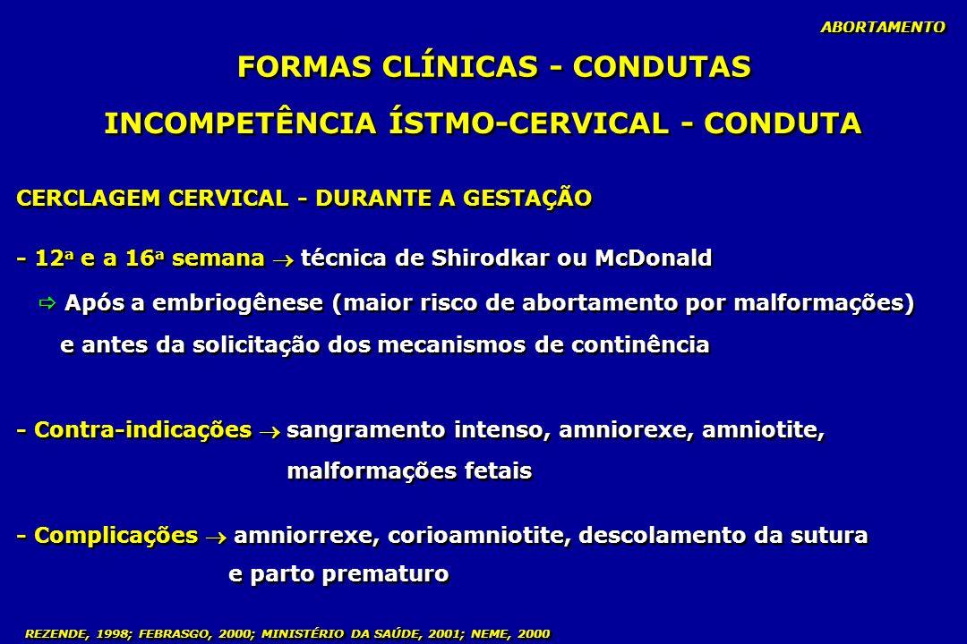 FORMAS CLÍNICAS - CONDUTAS INCOMPETÊNCIA ÍSTMO-CERVICAL - CONDUTA