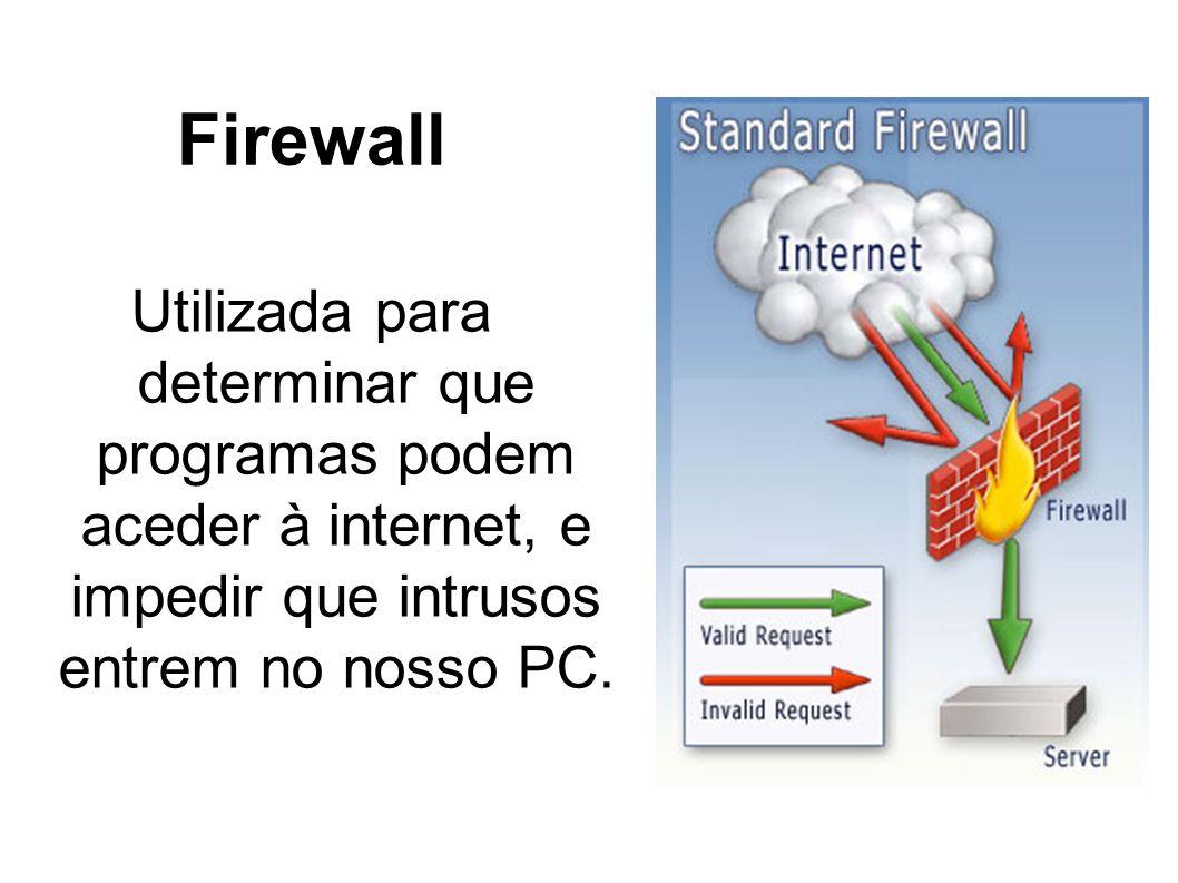 FirewallUtilizada para determinar que programas podem aceder à internet, e impedir que intrusos entrem no nosso PC.