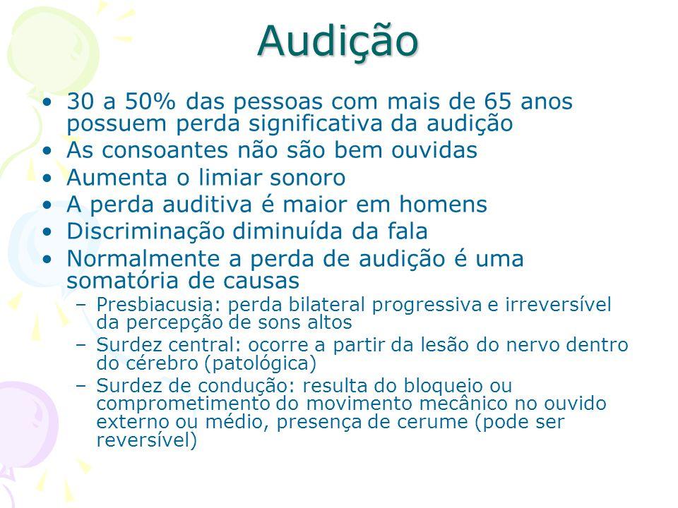 Audição 30 a 50% das pessoas com mais de 65 anos possuem perda significativa da audição. As consoantes não são bem ouvidas.