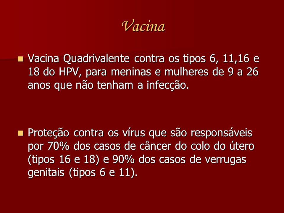 Vacina Vacina Quadrivalente contra os tipos 6, 11,16 e 18 do HPV, para meninas e mulheres de 9 a 26 anos que não tenham a infecção.