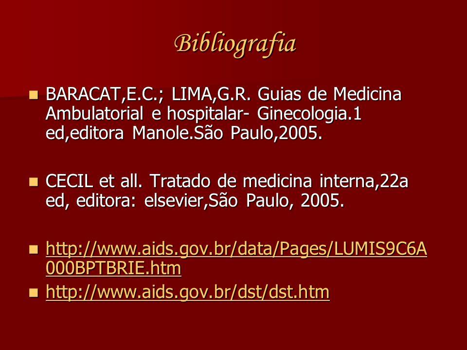 Bibliografia BARACAT,E.C.; LIMA,G.R. Guias de Medicina Ambulatorial e hospitalar- Ginecologia.1 ed,editora Manole.São Paulo,2005.
