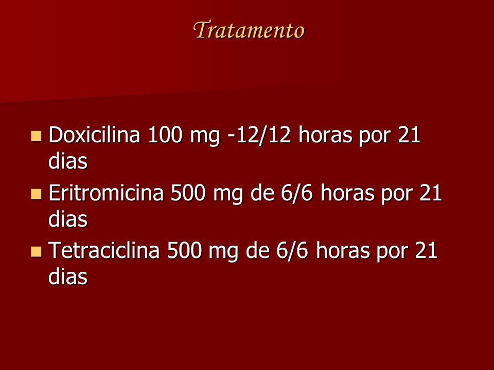 Tratamento Doxicilina 100 mg -12/12 horas por 21 dias