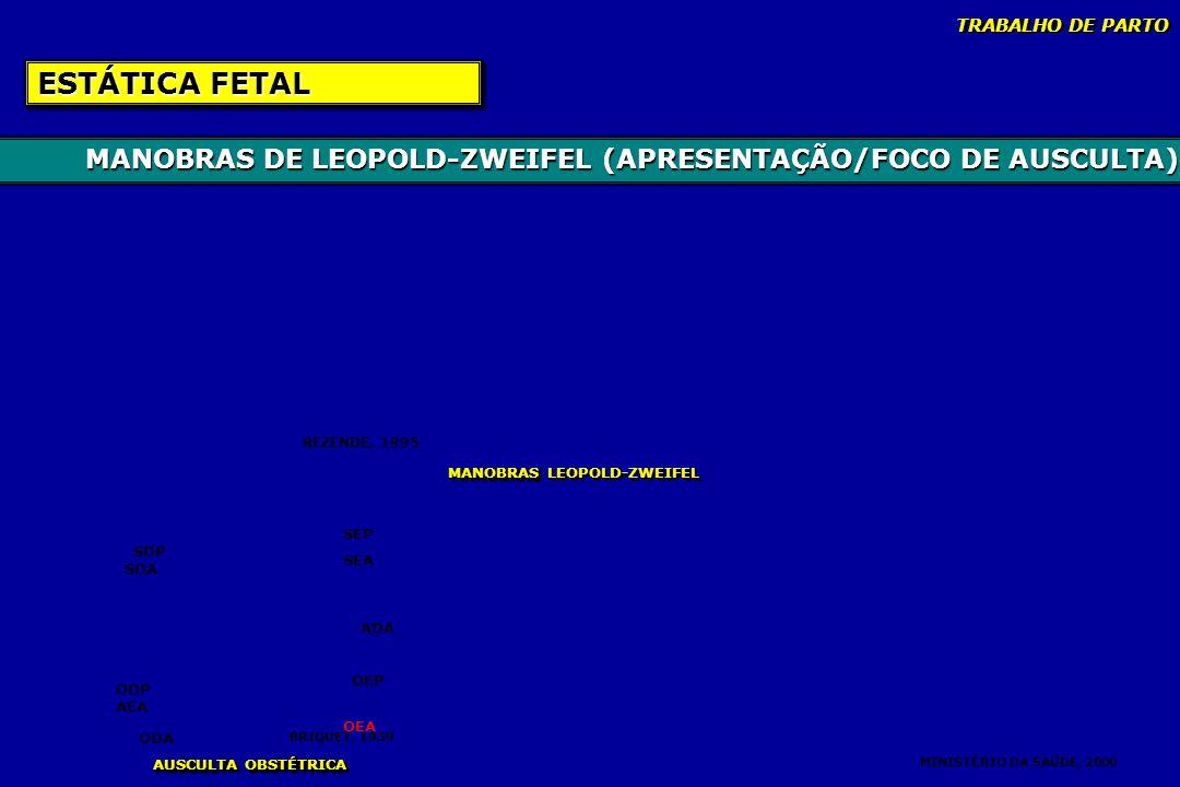 TRABALHO DE PARTO ESTÁTICA FETAL. MANOBRAS DE LEOPOLD-ZWEIFEL (APRESENTAÇÃO/FOCO DE AUSCULTA) REZENDE, 1995.