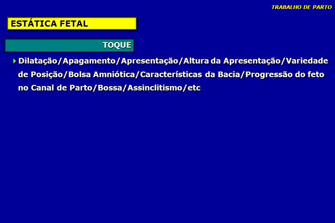 TRABALHO DE PARTO ESTÁTICA FETAL. TOQUE. Dilatação/Apagamento/Apresentação/Altura da Apresentação/Variedade.