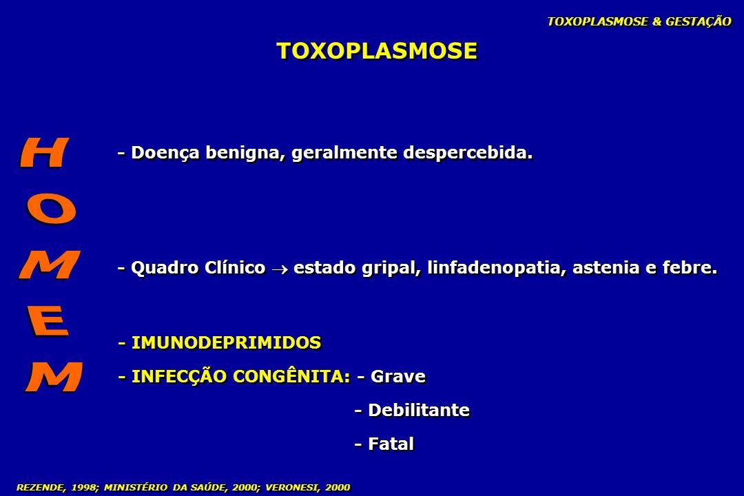 HOMEM TOXOPLASMOSE - Doença benigna, geralmente despercebida.