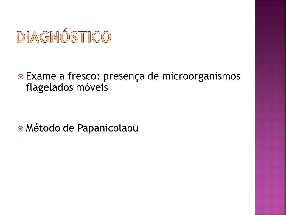 DIAGNÓSTICO Exame a fresco: presença de microorganismos flagelados móveis Método de Papanicolaou