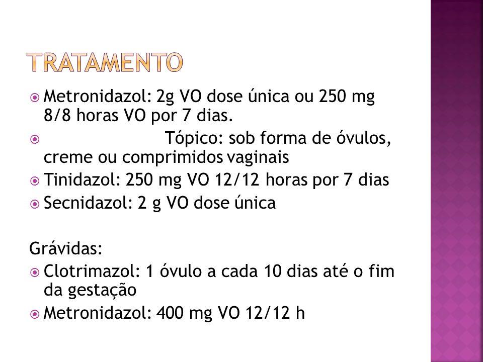 TRATAMENTO Metronidazol: 2g VO dose única ou 250 mg 8/8 horas VO por 7 dias. Tópico: sob forma de óvulos, creme ou comprimidos vaginais.
