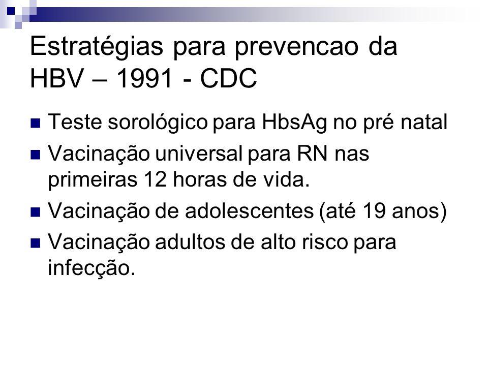 Estratégias para prevencao da HBV – 1991 - CDC